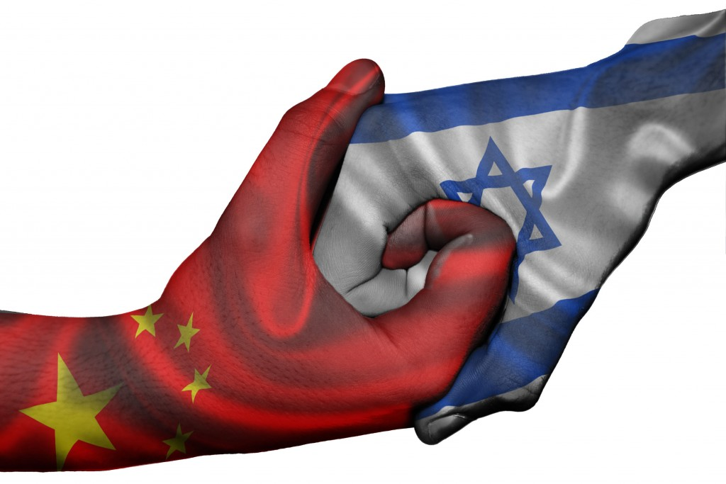 30153691 - diplomatic handshake between countries: flags of china and israel overprinted the two hands